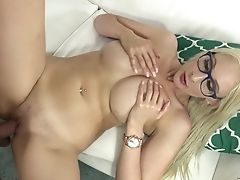 Blonde With Yummy Breasts Gets Revved On Then Pounded By Hot Man