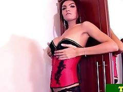 Stripteasing Tranny Pleasing Herself