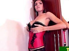 Stripteasing Tranny Pleasing Herself