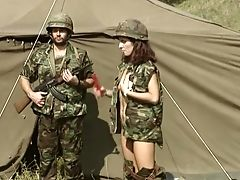 Horny And Youthful Buxomy Red-haired Stunner In The Army Masturbates Outside