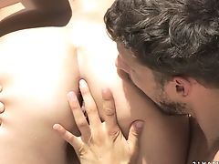 Dark Haired Perceives Intense Sexual Desire While Getting Her Face Covered In Jizz