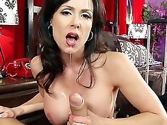 Endearing Mummy With Enormous Tits Kendra Passion Slurps Ramon's Hard Dick Before Taking It Down Her Snatch