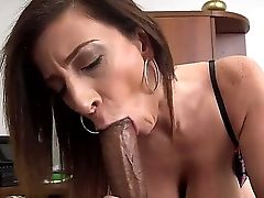 Jumbo Tits Cougar Sara Jay Inhales Off Her Black Manager's Fat Manstick For Some Sweet Chocolate Rain