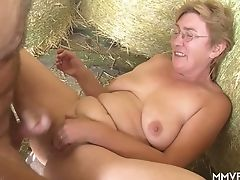 Crazy Farmer Lures Chubby Matures Lady In Glasses And Fucks Her In Shed
