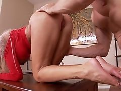 Blonde With Big Knockers Drops On Her Knees To Be Facehole Fucked