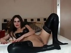 Sexy Black-haired Honey Masturbating And Fingerblasting Her Moist Cunt On Webcam