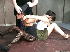 Vapid Chested Black Chick Nikki Darling Gets Her Cooch Taunted In Bondage & Discipline Way
