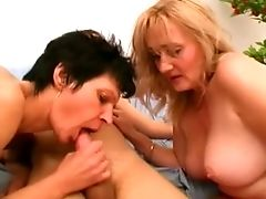 Curvy Blonde Cougar And Slender Black-haired Bitch Share One Boy