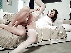 Dark Haired Karina Milky Gets The Mouth Fuck Of Her Fantasies With Horny Fellow