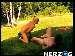 Buxomy And Hot Blonde German Honey Having Lovemaking On The Lawn