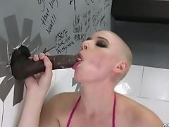 Bald Headed Lewd Nymphomaniac Riley Nixon Gives Gloryhole Big Black Cock A Good Bj