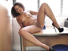 Ardent Curly Black Hotty Kayla Louise Loves Nothing But To Undress On Web Cam