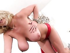 Big Tittied Blondie Is Demonstrating Her Delights