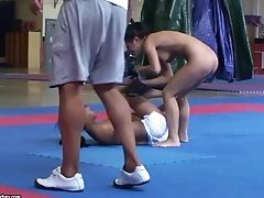 Nude Grappling With Fit Asian Sharon Lee And Hot Amabella