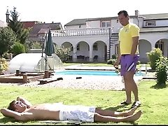 Lovely Doll Takes Parent In Law Knob Near Pool