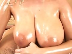 Oiled Big Jugged Blonde Sexpot Plays With Tits And Her Bf's Strong Man Rod