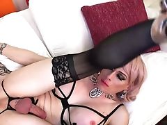 Wicked Blonde Tranny Mummy Feeds Youthfull Man With Her Dick And Predominates