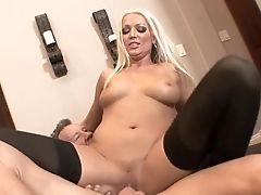 Blonde Diana Doll Is Good On Her Way To Satiate Her Fuck Acquaintance With Her Sweet Mouth