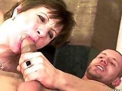Ginger-haired Gets Her Many Times Used Mouth Tucked Again By Horny Man