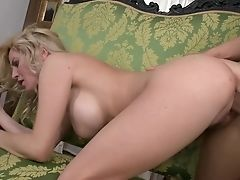 Blonde With Giant Hooters Does Her Best To Make Her Fuck Friend Squirt The Geyser Out