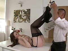 Dark Haired Tina Kay Shows Oral Bang-out Tricks To Hot Blooded Man With Desire