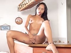Brilliant Latina Stunner Sofia Suarez Plays With Her Snatch On The Kitchen Counter