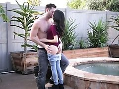 Petite Black-haired Kiley Jay Is Fucked In Her Lil' Honeypot By The Poolside