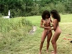 Kinky And Hot Dark Skin Dark-haired Fucksluts Outside With Milky Studs