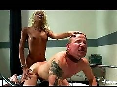 Tranny Fucks Corded Fellow In Hospital Sofa